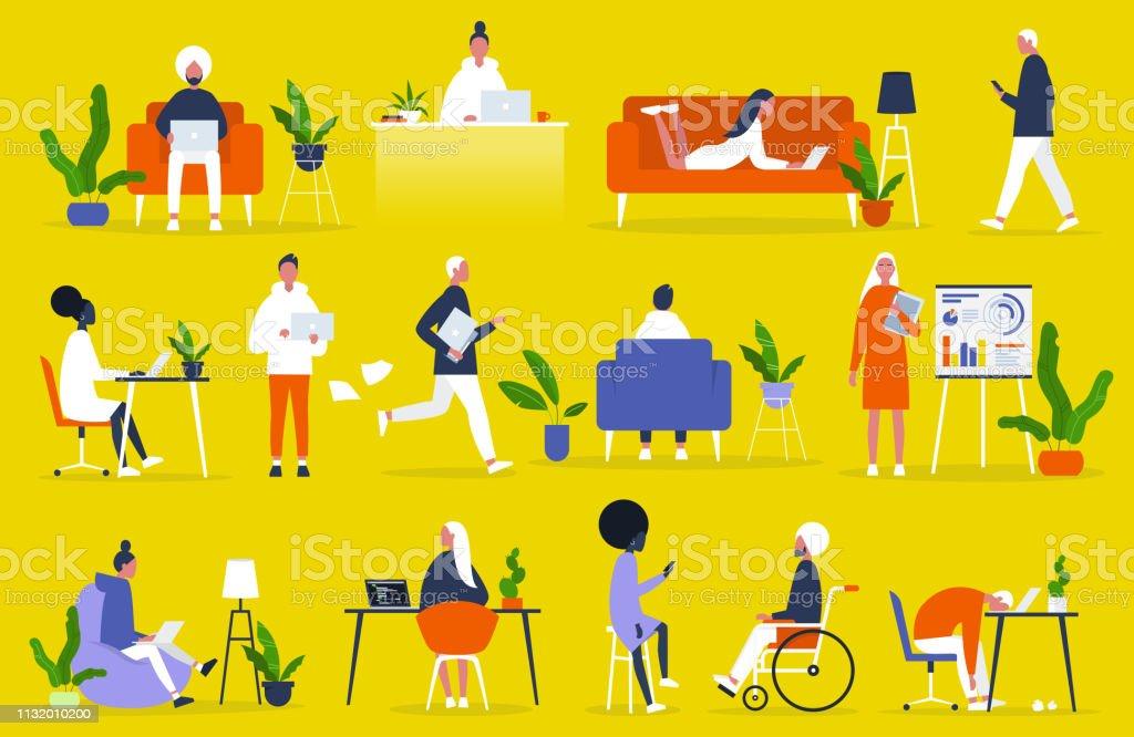 Big set of business people. Office situations. Millennials at work. Diversity. Modern professions. Management. Inclusive team of specialists. Flat editable vector illustration, clip art - Grafika wektorowa royalty-free (Afroamerykanin)