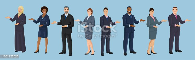 Diversity business people. European, African American, Asian and Arab business men and women are pointing sideways by hand. Set of isolated vector illustrations