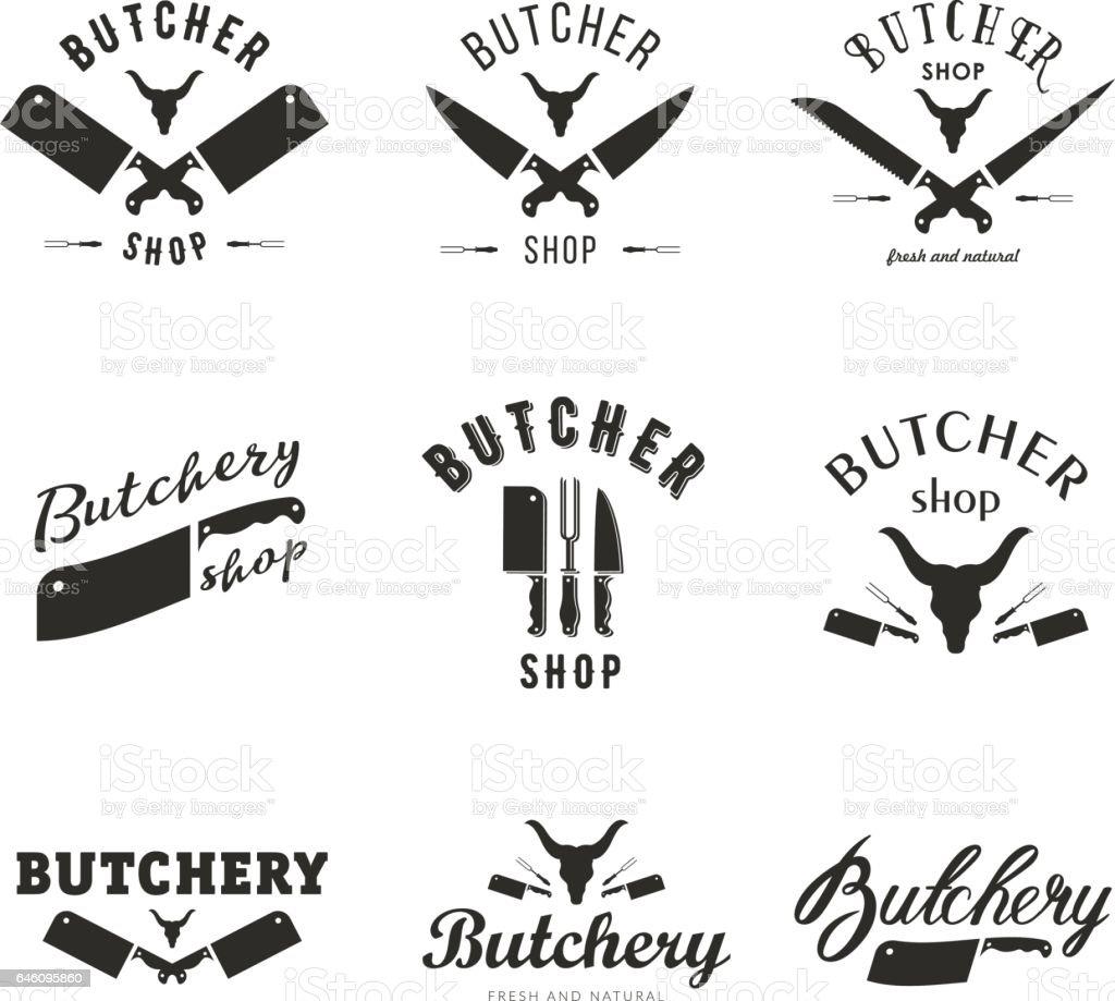 Grand ensemble de modèles de logo de boucherie - Illustration vectorielle