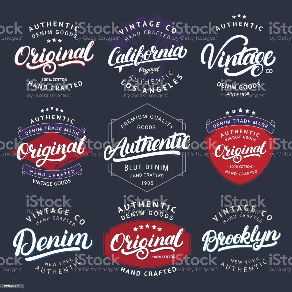 Big set of California, Vintage, Brooklyn, Denim, Original and Authenic hand written lettering for label, badge, tee print vector art illustration