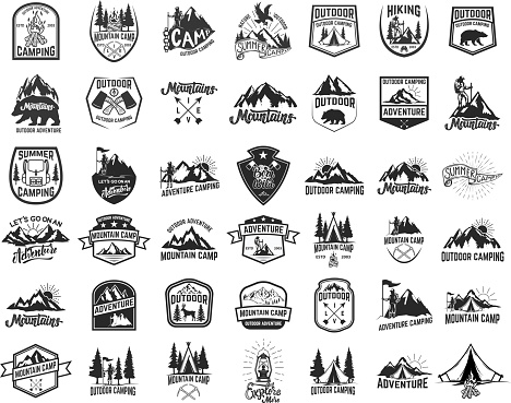 Big set of camping, hiking, tourism emblems. Design element for emblem, sign, label, poster. Vector illustration