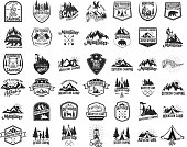 Big set of camping, hiking, tourism emblems. Design element for emblem, sign, label, poster.