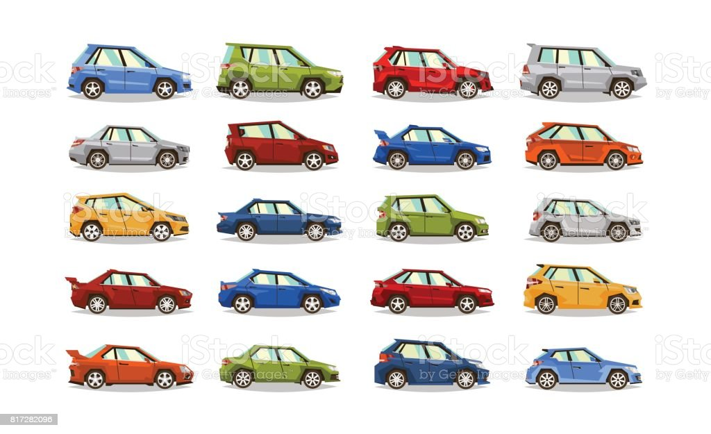Big set of cars. Collection vehicle. Sedan, hatchback, roadster, SUV. The image of toy machines. Isolated objects on a white background. Vector illustration. Flat style vector art illustration