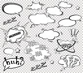 Big Set of Cartoon, Comic Speech Bubbles, Empty Dialog Clouds in Pop Art Style. Vector Illustration for Comics Book , Social Media Banners, Promotional Material.