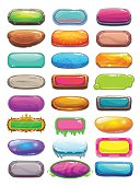 Big set of cartoon long horizontal buttons, vector gui assets collection for game design