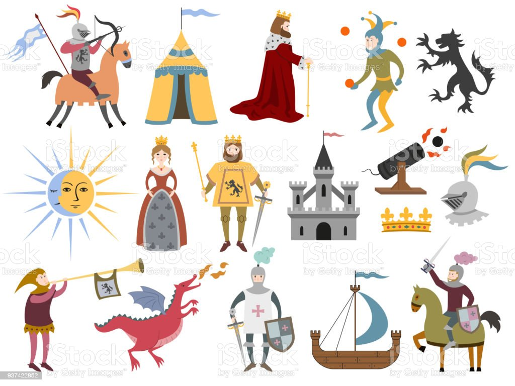 Big set of cartoon medieval characters and medieval attributes.
