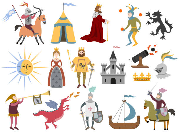 Big set of cartoon medieval characters and medieval attributes. Big set of cartoon medieval characters and medieval attributes on white background. Vector illustration. fairy tale stock illustrations