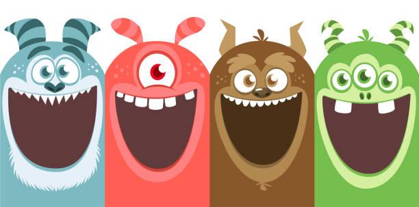 ilustraciones, imágenes clip art, dibujos animados e iconos de stock de conjunto grande de monstruos de dibujos animados para halloween. diseño de paquete - monstruo