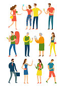 Big set of cartoon people in various lifestyles using their gadgets.  Characters and modern technologies illustrations.