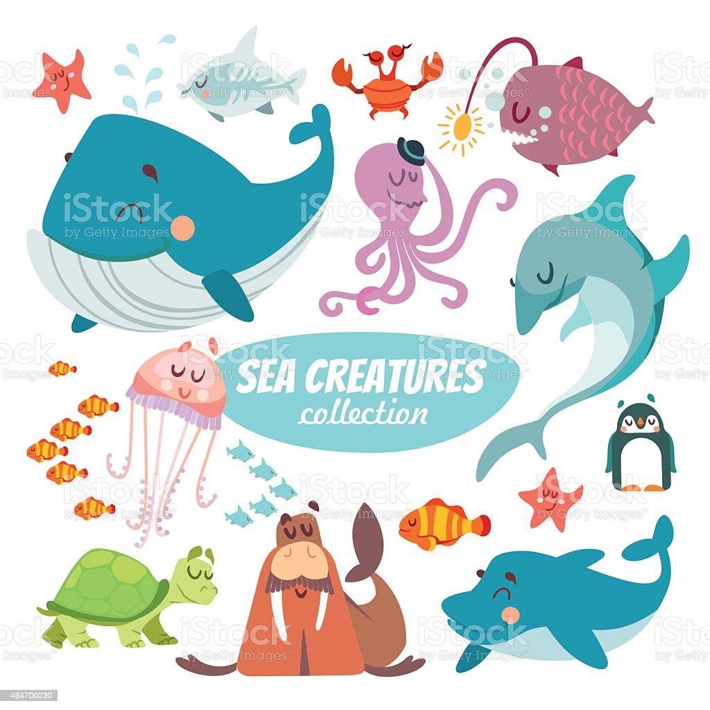Big set of cartoon sea creatures vector art illustration