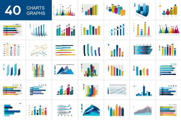 big set of charst, graphs. blue color. infographics business elements. - диаграмма stock illustrations