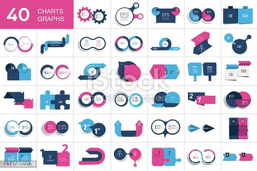istock Big set of chart, two elements banner. 1145885576