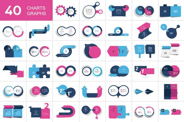big set of chart, two elements banner. - dwa przedmioty stock illustrations