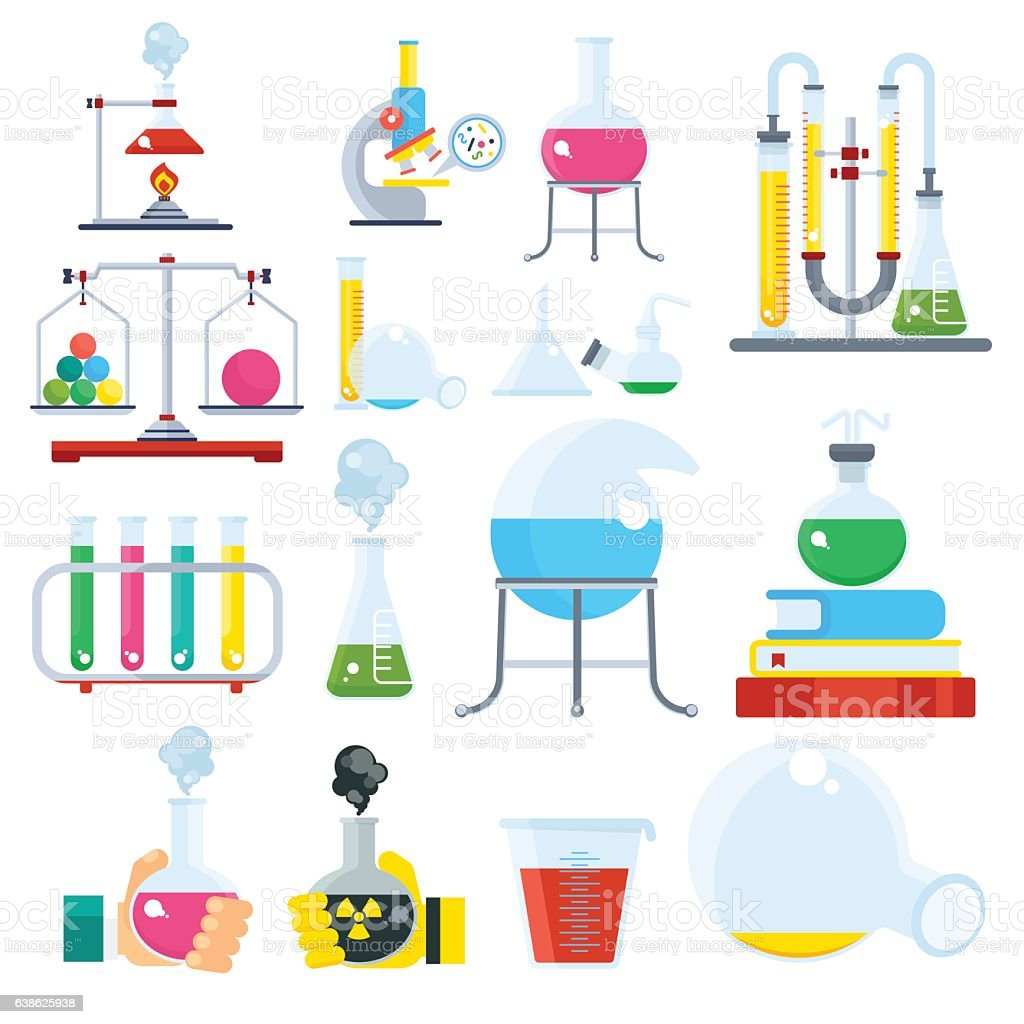 big set of chemical ecuipment vector art illustration