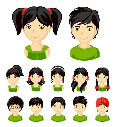 Big set of children's faces.