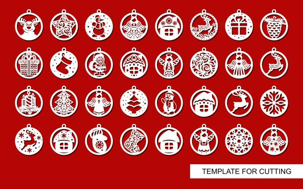 Big set of Christmas decorations - balls Big set of Christmas decorations - balls with a Santa Claus, deer, snowflake, candle, angel, snowman, gift, sock, Christmas tree, house. Template for laser cut. New Year theme. Vector illustration. decorative laser cut set stock illustrations