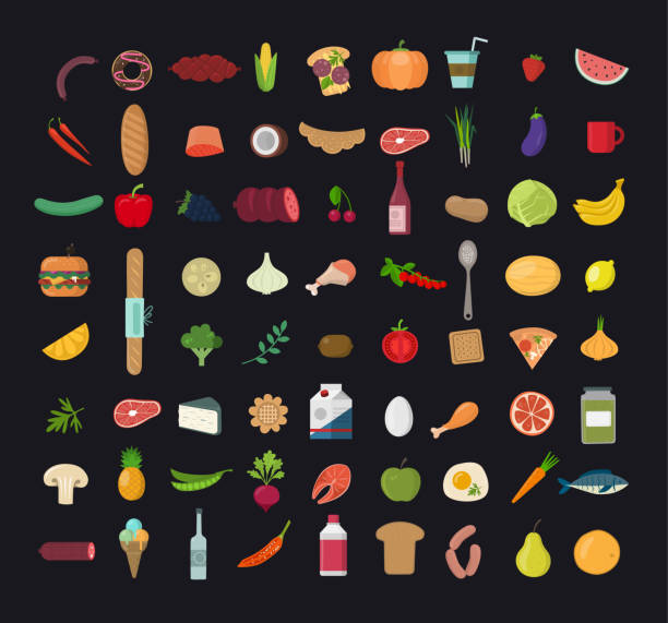 ilustrações de stock, clip art, desenhos animados e ícones de big set of  colored  food icons. collection of various meal, fish and meat, vegetables and bread. - meat plate