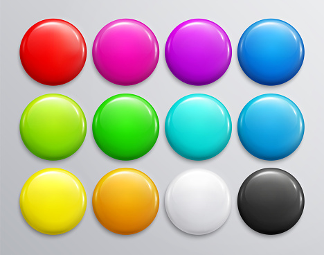 Big set of colorful glossy badge or button. 3d render. Round plastic pin, emblem, volunteer label. Vector.