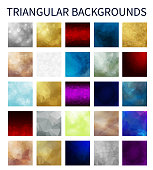 Big Set of colorful vector triangular backgrounds. Geometric background in Origami style with gradient. Vector design for your background, cover, poster, banner, flyer, party invitation card, brochure
