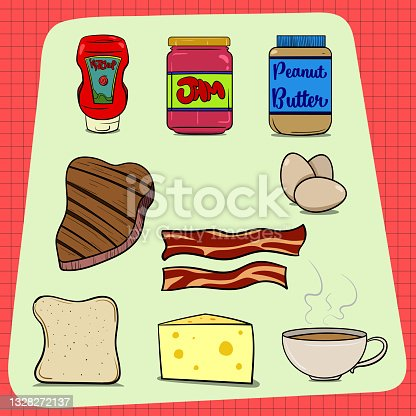 istock Big set of common food items found in every house. Ketchup Jam Peanut Butter Steak Eggs Bacon Bread Cheese Coffee. Red Background with check pattern. 1328272137