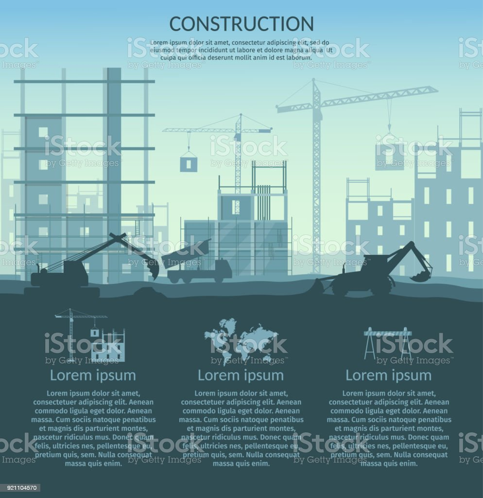Big set of construction elements infographic vector art illustration