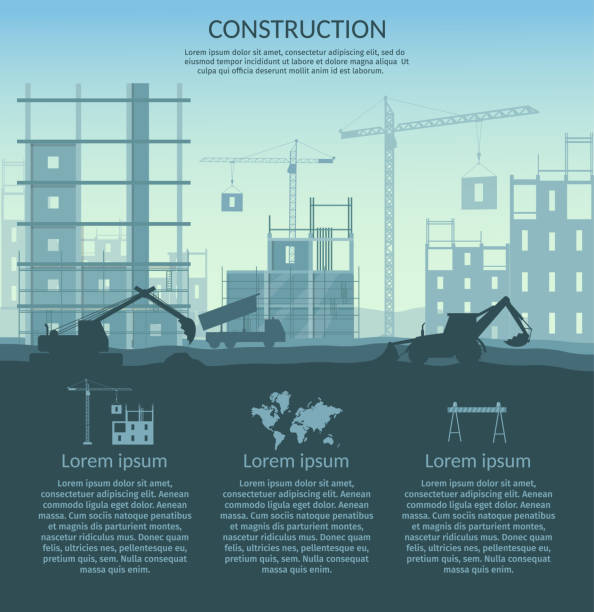 big set of construction elements infographic - konstrukcja budowlana stock illustrations