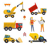 Big set of construction equipment machinery. Special machines for the construction work. Forklifts, tractors, trucks, concrete mixer, dump truck, excavator, bulldozer, builders, road signs icons