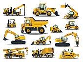 Big set of construction equipment. Special machines for the construction work. Forklifts, cranes, excavators, tractors, bulldozers, trucks. Special equipment. Road repair. Commercial Vehicles