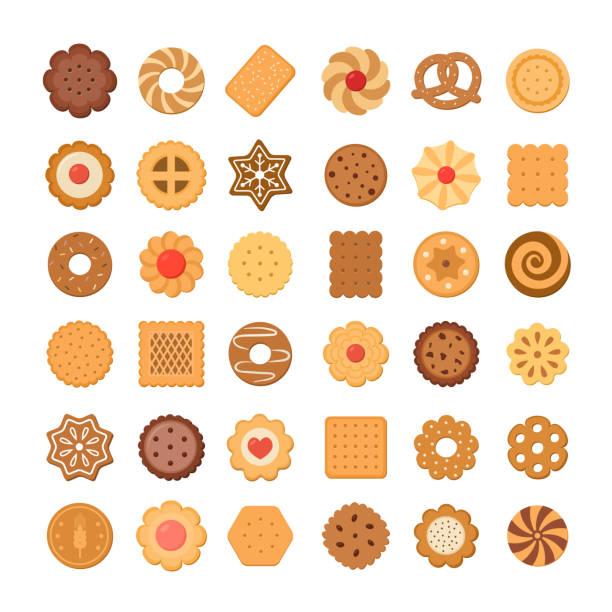 große reihe von plätzchen und kekse. isoliert auf weißem hintergrund. - wackelpuddingkekse stock-grafiken, -clipart, -cartoons und -symbole