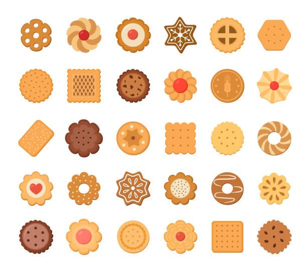 ilustrações de stock, clip art, desenhos animados e ícones de big set of cookies and biscuits. isolated on white background. - bolacha