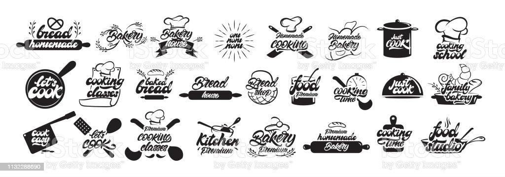 大設置的烹飪和烘焙標誌的文字風格。麵包標誌。烹飪, 廚師, 廚房用具圖示或標誌。手寫的文字向量例證-向量 - 免版稅俄羅斯圖庫向量圖形