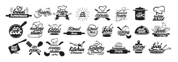 illustrations, cliparts, dessins animés et icônes de grand ensemble de logos de cuisine et de boulangerie dans le style de lettrage. emblèmes de pain. cuisinier, chef, icône d'ustensiles de cuisine ou logo. illustration vectorielle de lettrage manuscrite-vecteur - boulanger