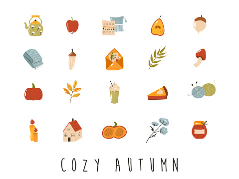 Big set of cozy autumn icons in flat style