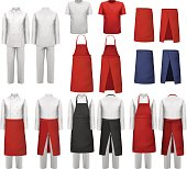 Big set of culinary clothing, white and red suits