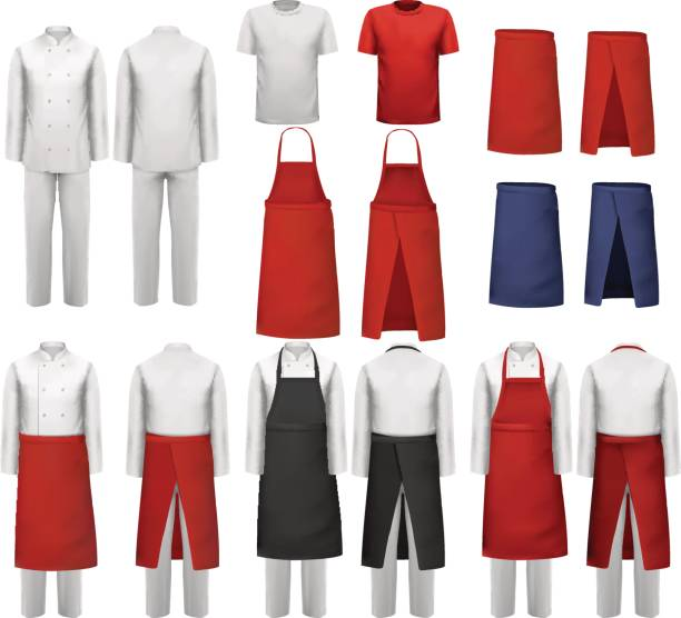 Big set of culinary clothing, white and red suits Big set of culinary clothing, white and red suits and aprons. Vector. apron stock illustrations