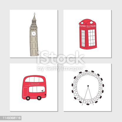 Big set of cure and fun hand drawn elements and sights of London. Vector illustration
