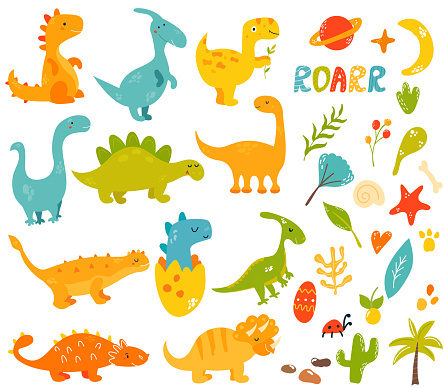 Big set of cute and cool hand drawn dinosaurs and elements, Collection of different species trex, diplodocus, stegosaurus, parasauroloph, triceratops, raptor