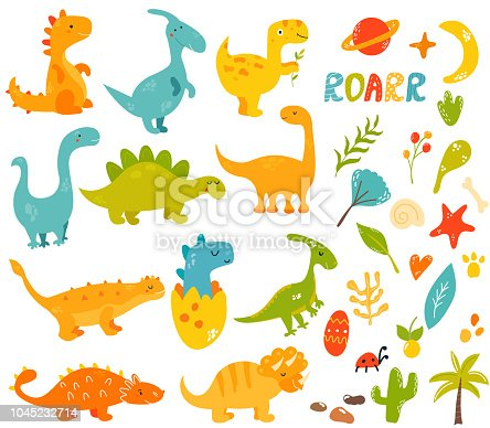 Big set of cute and cool hand drawn dinosaurs and elements, Collection of different species trex, diplodocus, stegosaurus, parasauroloph, triceratops, raptor.