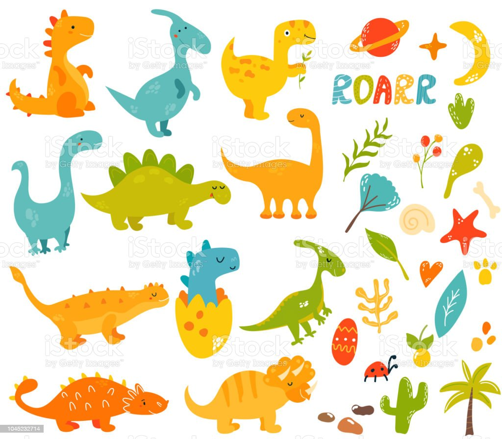 Grande conjunto de bonito e legal da mão desenhados dinossauros e elementos, coleção de espécies diferentes trex diplodocus, estegossauro, parasauroloph, triceratops, raptor - ilustração de arte em vetor