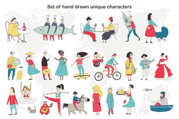 ●キャラクター達がいろんなことをするキャラたちが描くキュートで楽しい手描きのビッグセット。ベクトルイラストレーション - 漁師点のイラスト素材/クリップアート素材/マンガ素材/アイコン素材