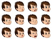 Big set of cute little boy faces showing different emotions