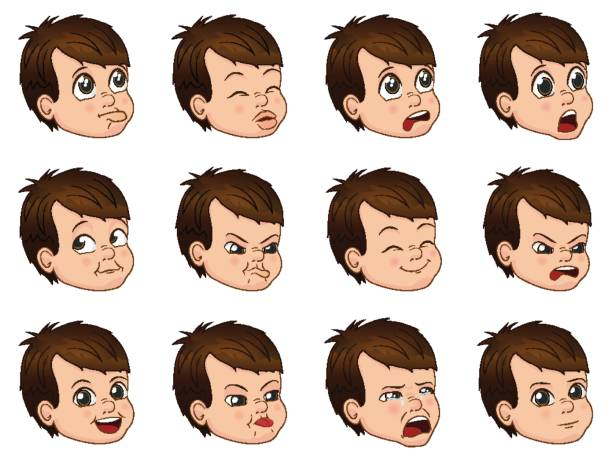 illustrazioni stock, clip art, cartoni animati e icone di tendenza di big set of cute little boy faces showing different emotions - kids kiss embarrassed