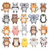 Lion, panda, koala, tiger, bear, pig, fox, sloth, raccoon, cat, cow etc. Simple flat style, isolated vector illustrations on white background. Big set