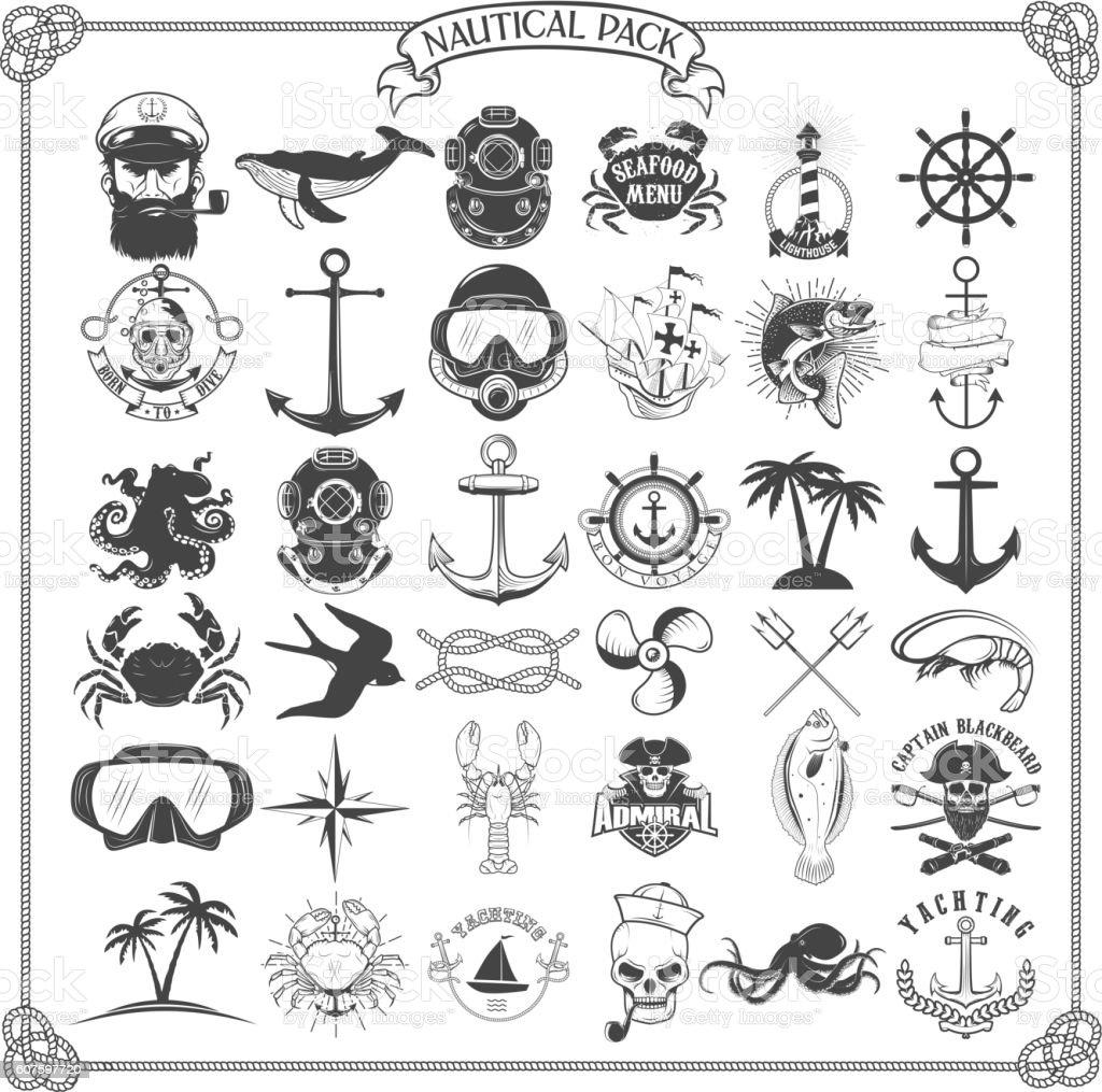 Big set of design elements for nautical emblems, seafood restaur