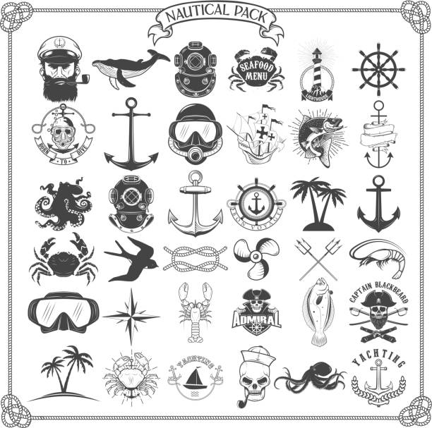 Big set of design elements for nautical emblems, seafood restaur vector art illustration