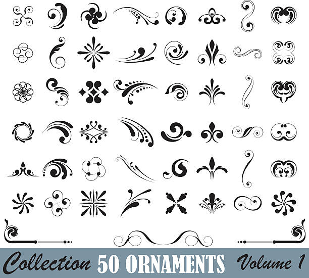 stockillustraties, clipart, cartoons en iconen met big set of design elements - barokstijl