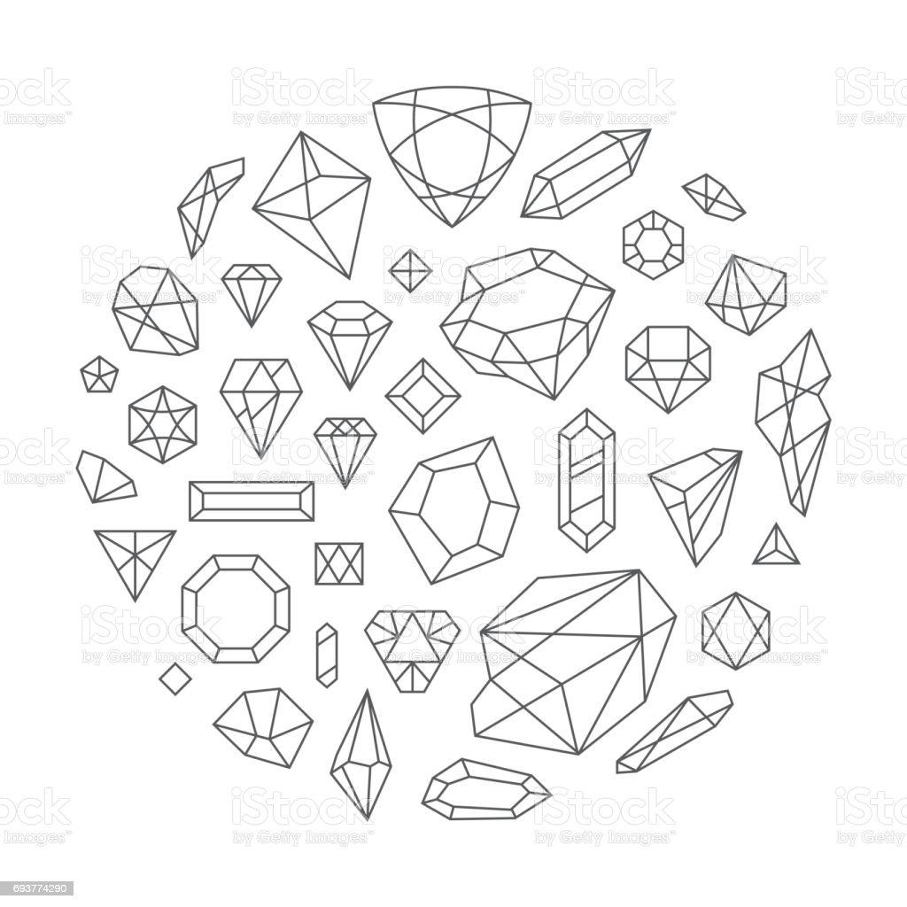 Große Reihe von Rauten, Vektor-Design-Elemente. – Vektorgrafik