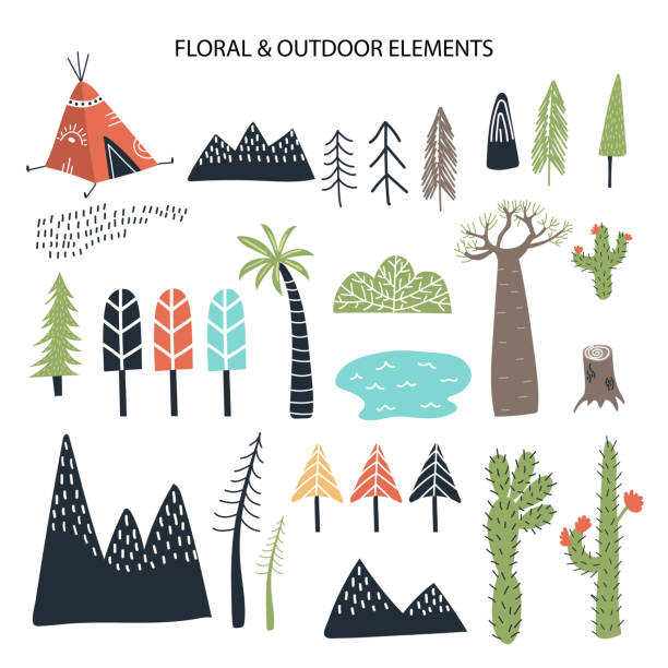 Big set of diferent floral and outdoor elements. Cute handdrawn kids clip art collection. Big set of diferent floral and outdoor elements. Cute handdrawn kids clip art collection. Vector illustration. teepee stock illustrations