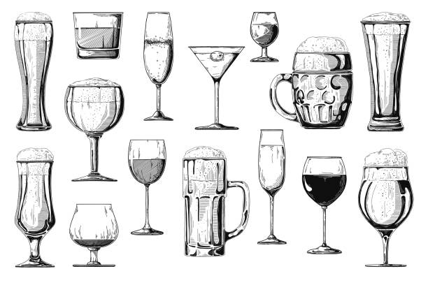 big set of different alcoholic beverages. vector - alcohol drink silhouettes stock illustrations
