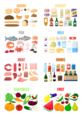 Big set of different food. Flour product, grocery, fish and sea food, milk and eggs, meat, drinks and alcohol, fruit and vegetables. Cartoon vector.